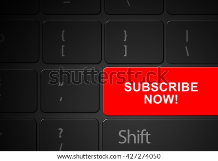 Keyboard red subscribe now button, 3d render - stock photo