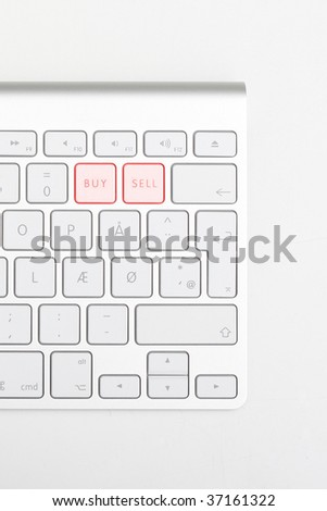 Keyboard showing buy sell buttons - stock photo
