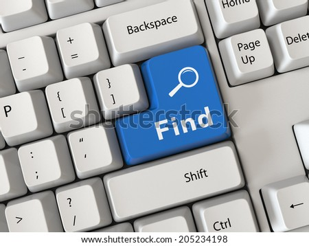 Keyboard with a word find - stock photo