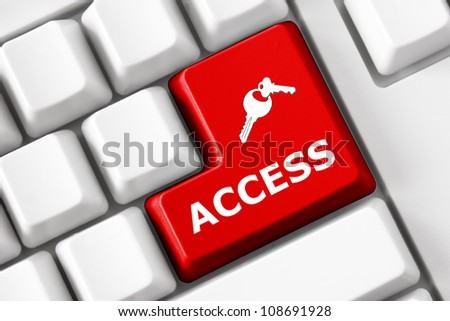 Keyboard with Access  text and key symbols - stock photo