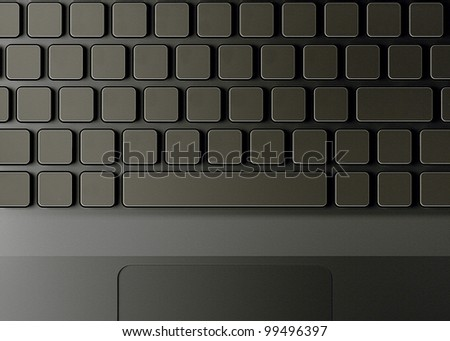 Keyboard with blank buttons or keys.