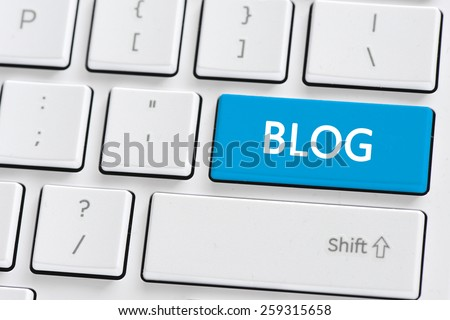 Keyboard with blog button. Computer keyboard with blog button - stock photo