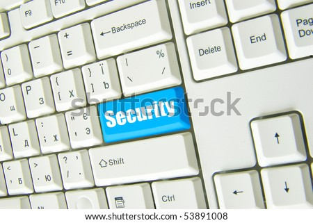 Keyboard with blue button of connect to security - stock photo