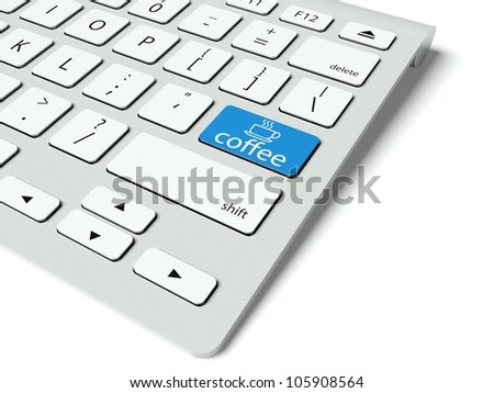 Keyboard with blue Coffee Break button, work concept