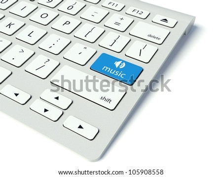 Keyboard with blue Music button, entertainment concept