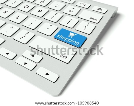 Keyboard with blue Shopping button, internet concept