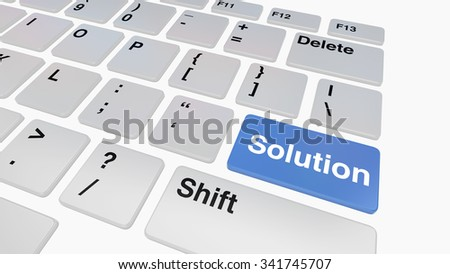 Keyboard with blue solution key concept for problem solving with computers