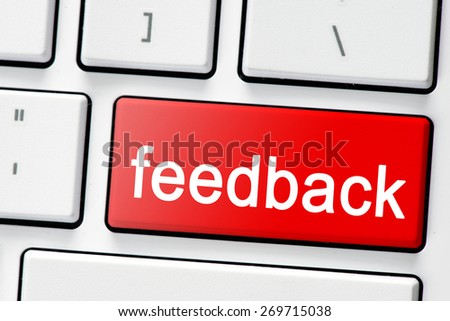 Keyboard with button feedback. Computer white keyboard with red button feedback - stock photo
