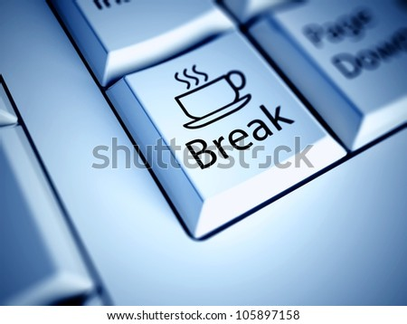 Keyboard with Coffee Break button, work concept - stock photo