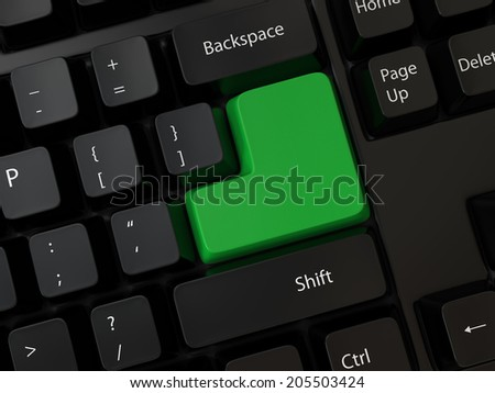 Keyboard with colorful blank Enter button, 3d render