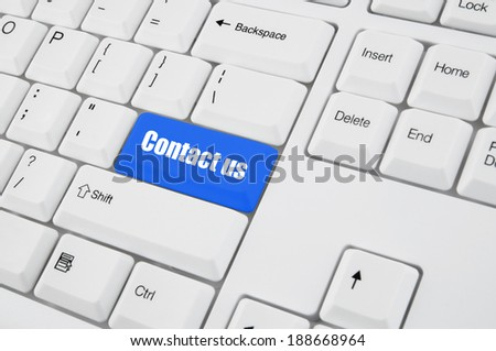 Keyboard with contact us button  - stock photo