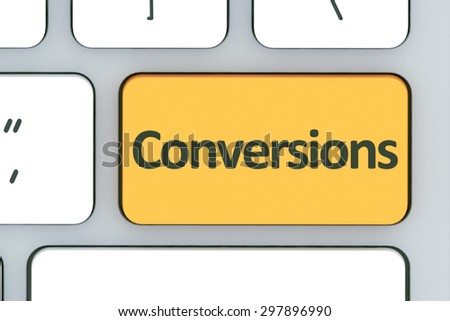 Keyboard with conversions button. Computer white keyboard with conversions button  - stock photo