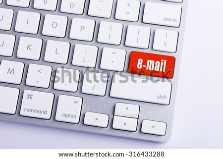 Keyboard with E-mail Button - stock photo