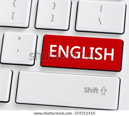 Keyboard with english button. Computer keyboard with english button - stock photo