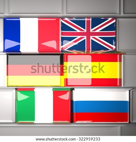 Keyboard with European flags (France, UK, Germany, Spain, Italy and Russia), 3d render, square image