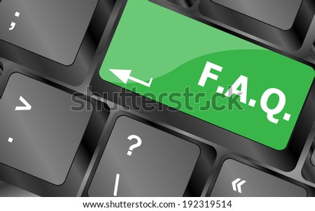 keyboard with faq button - business concept - stock photo