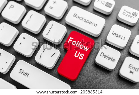 Keyboard with  Follow Us button. Concept image. - stock photo