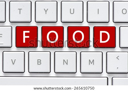 Keyboard with food button. Computer white keyboard with food button - stock photo