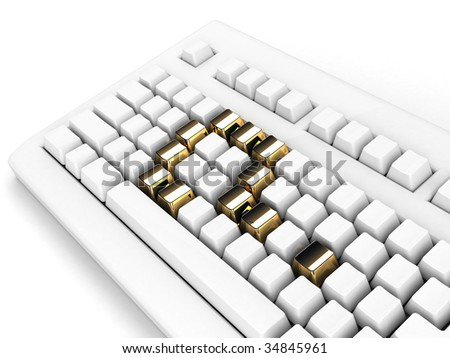 keyboard with gold question-mark concept - stock photo