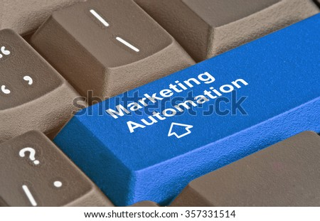 Keyboard with hot key for marketing automation - stock photo