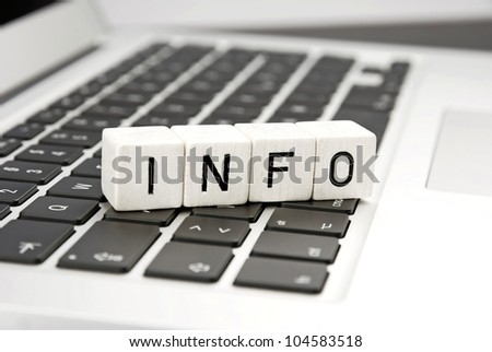 keyboard with info information sign abstract close-up background - stock photo