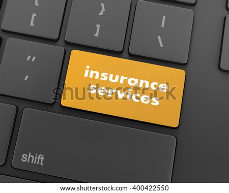 Keyboard with insurance services button, internet concept, raster, 3d rendering - stock photo