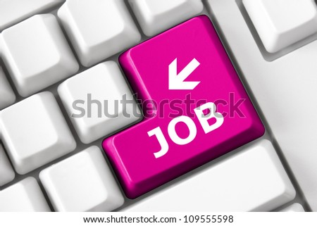 Keyboard with Job text and arrow symbol - stock photo