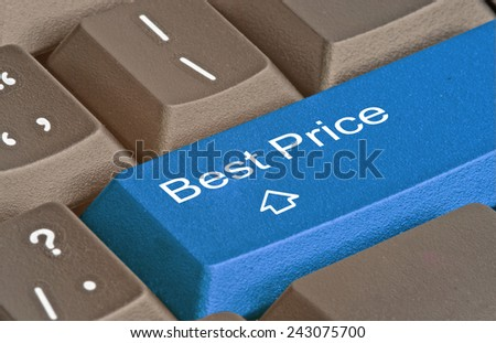Keyboard with key for best price - stock photo