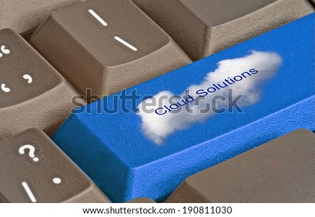keyboard with key for cloud solutions - stock photo