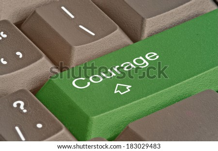 Keyboard with key for courage