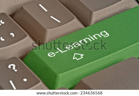 Keyboard with key for e-learning