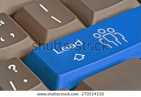 Keyboard with key for lead generation - stock photo