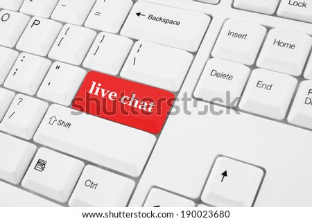 Keyboard with live chat red button - stock photo