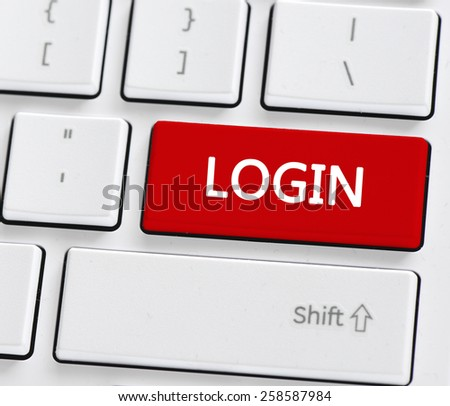 Keyboard with login button. Computer keyboard with login button - stock photo