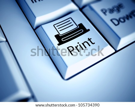 Keyboard with Print button, computer concept - stock photo
