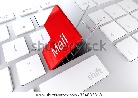 keyboard with red enter key open revealing underpass and ladder mail - stock photo