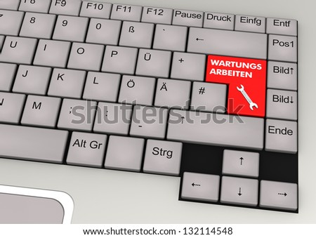 "Keyboard with red key and german text ""wartungsarbeiten"" translate ""maintenance""."