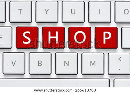 Keyboard with shop buton. Computer white keyboard with shop button - stock photo