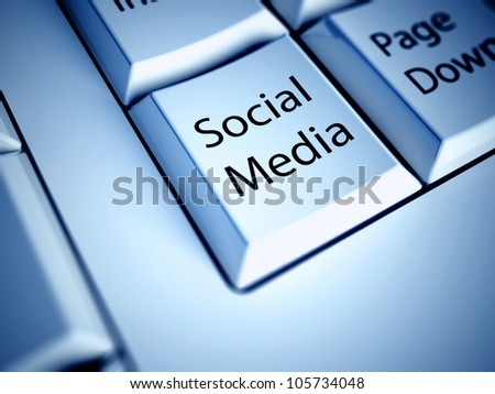 Keyboard with Social media button, internet concept - stock photo