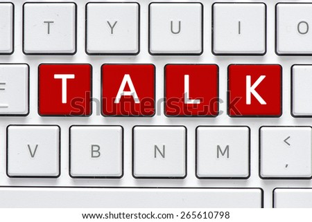 Keyboard with talk button. Computer white keyboard with talk button - stock photo