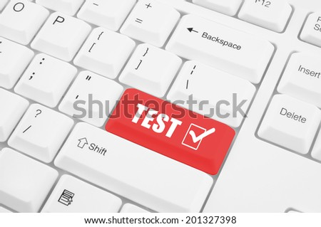 Keyboard with test button