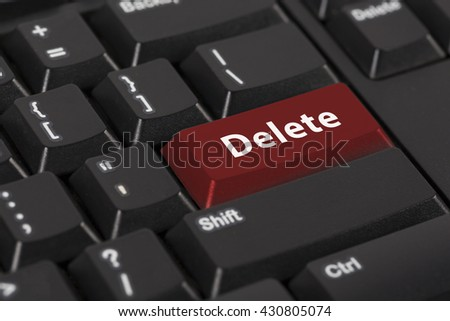 Keyboard with the word Delete on red button. - stock photo