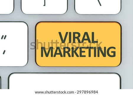 Keyboard with Viral Marketing button. Computer white keyboard with Viral Marketing button  - stock photo