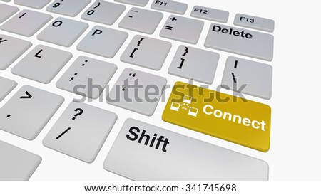 Keyboard with yellow connect key concept for internet connectivity - stock photo