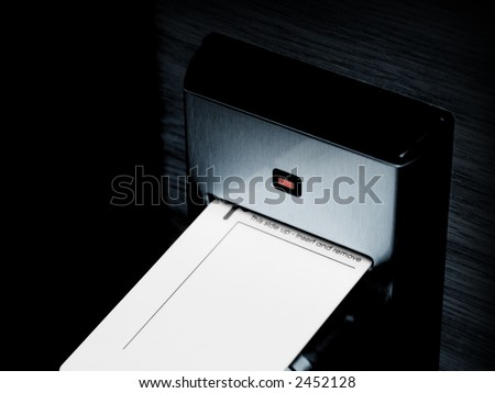 Keycard and electronic lock, isolated on black - stock photo