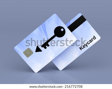 Keycards on shiny blue background, 3d illustration - stock photo