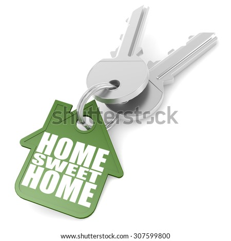 Keychain with sweet home word image with hi-res rendered artwork that could be used for any graphic design. - stock photo