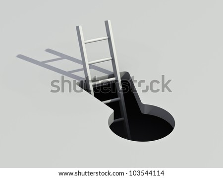 Keyhole and ladder with shadow - stock photo