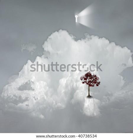 keyhole emits light in dreamlike scene - stock photo