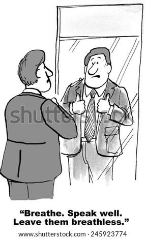 "Keynote speaker is saying to himself, ""Breathe.  Speak well.  Leave them breathless."" - stock photo"